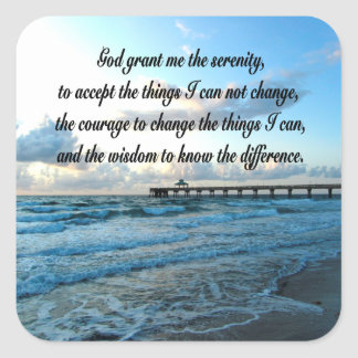 LOVELY SERENITY PRAYER OCEAN AND WAVES PHOTO SQUARE STICKER