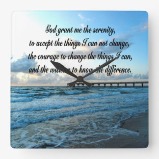 LOVELY SERENITY PRAYER OCEAN AND WAVES PHOTO SQUARE WALL CLOCK