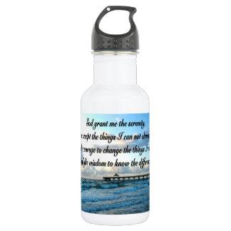 LOVELY SERENITY PRAYER OCEAN AND WAVES PHOTO STAINLESS STEEL WATER BOTTLE