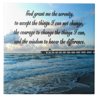 LOVELY SERENITY PRAYER OCEAN AND WAVES PHOTO TILE