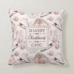 Lovely Shabby Chic Pink Christmas Pattern Throw Pillow