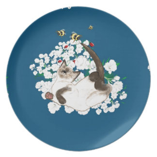Lovely Siamese cat flowers and bees blue art LeahG Plates