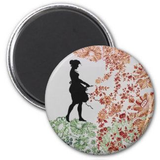 Lovely Silhouette Girl 2 Inch Round Magnet