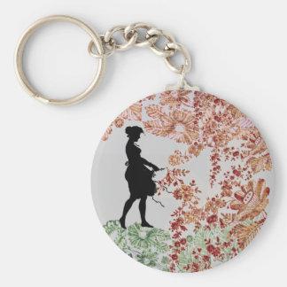 Lovely Silhouette Girl Keychain