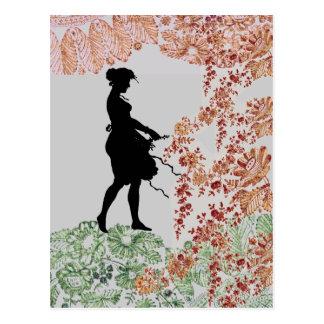 Lovely Silhouette Girl Postcard