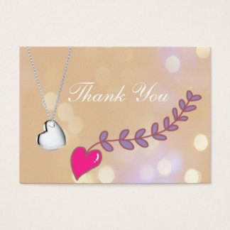 lovely silver, pink hearts wedding favor thank you business card