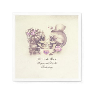 Lovely Skull Couple Purple Wedding Paper Napkin