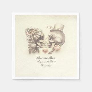 Lovely Skull Couple Wedding Napkin