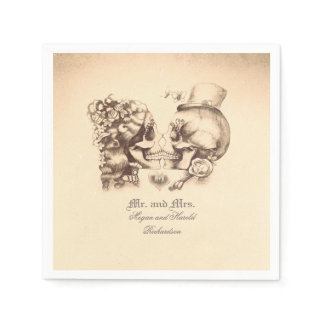 Lovely Skull Couple Wedding Napkin