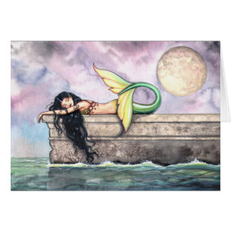 Lovely Sleeping Mermaid Card by Molly Harrison