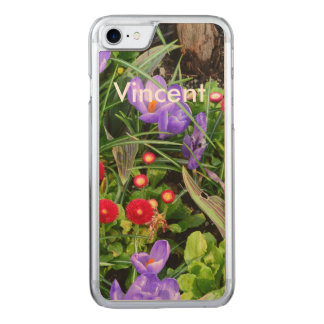 Lovely small red, purple garden flowers. Floral Carved iPhone 8/7 Case