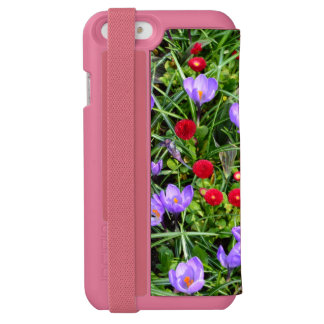 Lovely small red, purple garden flowers. Floral iPhone 6/6s Wallet Case
