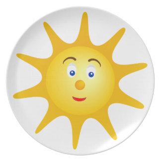 Lovely smiling sun face melamine plate