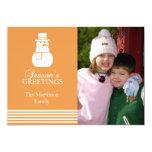 """Lovely Snowman Christmas Card (Gold) 5"""" X 7"""" Invitation Card"""