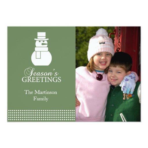 "Lovely Snowman Christmas Card (Sage Green) 5"" X 7"" Invitation Card"