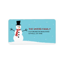 Lovely Snowman Holiday Address Label