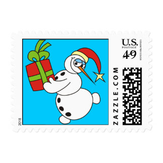 Lovely Snowman with Present Christmas Stamps