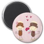 Lovely Sock Monkey Couple Magnet