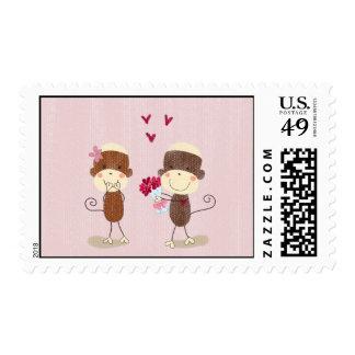 Lovely Sock Monkey Couple Valentine Postage