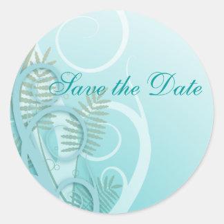 lovely soft fern plant floral design wedding classic round sticker