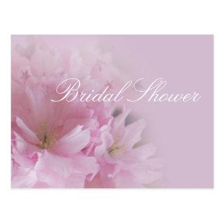 Lovely soft pink cherry blossom bridal shower postcard