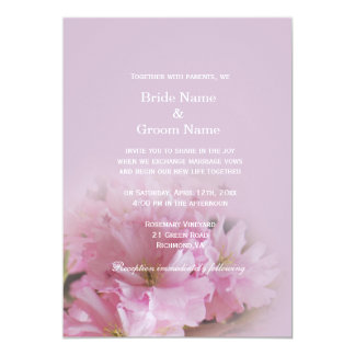 Lovely soft pink cherry blossom spring wedding personalized announcements