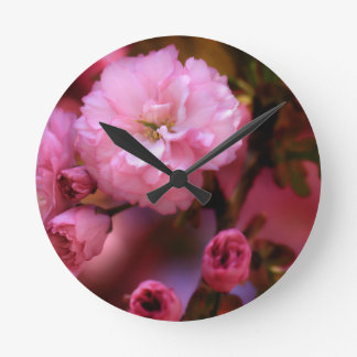 Lovely Spring Pink Cherry Blossoms Round Clock