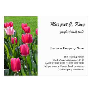 lovely spring pink tulip flowers. garden floral large business card