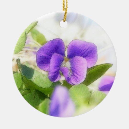 Lovely Spring Violet Ceramic Ornament
