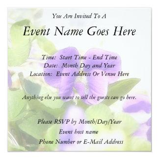 Lovely Spring Violet 5.25x5.25 Square Paper Invitation Card