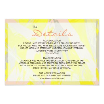 Beach Themed Lovely Summer Abstract Wedding Details Card