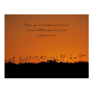 Lovely Sunset Galations 6:2 Scripture Post Card