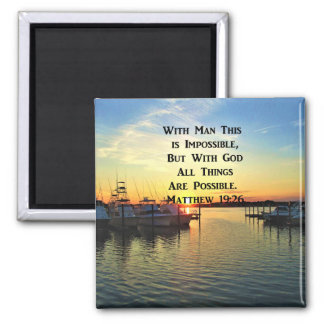 LOVELY SUNSET MATTHEW 19:26 SCRIPTURE PHOTO MAGNET