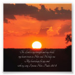 Lovely Sunset Psalm 28:6-8 Scripture Print Photo