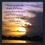 "Lovely Sunset Scripture Verse Matthew 28:19 Print<br><div class=""desc"">Lovely sunset on a beach with the verse &quot;Therefore go and make disciples of all nations, baptizing them in the name of the Father and of the Son and of the Holy spirit.&quot; Matthew 28:19. Square photo print makes a good gift for a pastor, wall art for a chrch office...</div>"