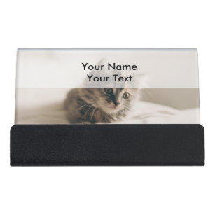 Kitty cat business card holders zazzle lovely sweet cat kitten kitty desk business card holder reheart Gallery