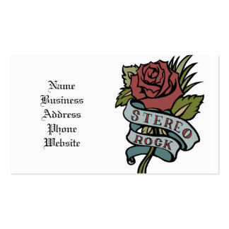 """Lovely Tattoo Flowers""""Stereo Rock"""" Red and Green Business Card"""