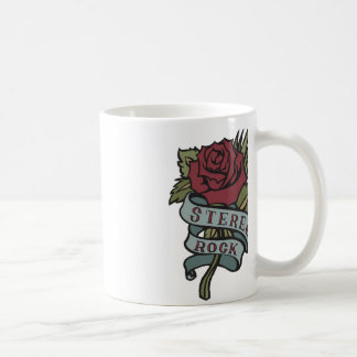 """Lovely Tattoo Flowers""""Stereo Rock"""" Red and Green Coffee Mug"""