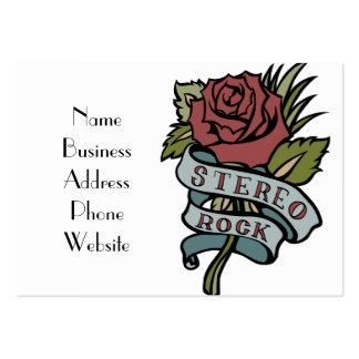 """lovely tattoo flowers""""stereo rock"""" red and green large business card"""