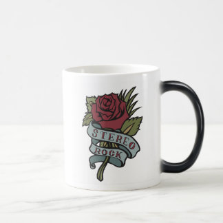 """Lovely Tattoo Flowers""""Stereo Rock"""" Red and Green Magic Mug"""