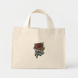 """Lovely Tattoo Flowers""""Stereo Rock"""" Red and Green Mini Tote Bag"""