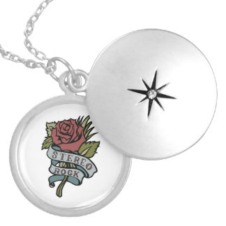 """Lovely Tattoo Flowers""""Stereo Rock"""" Red and Green Round Locket Necklace"""