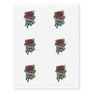 """Lovely Tattoo Flowers""""Stereo Rock"""" Red and Green Temporary Tattoos"""
