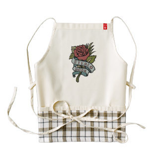 "Lovely Tattoo Flowers""Stereo Rock"" Red and Green Zazzle HEART Apron"