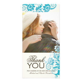 Lovely Teal Thank You Photo Card (4x8)