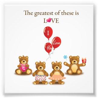 Lovely Teddy Bear Vector Graphics CUTE CARTOON COL Photo Print