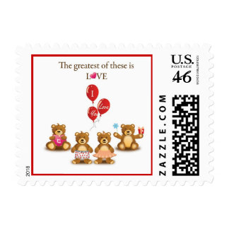 Lovely Teddy Bear Vector Graphics CUTE CARTOON COL Postage Stamps