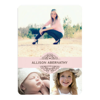 Lovely Then and Now Photo Graduation Party | Pink Card