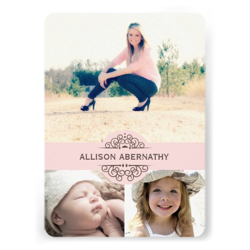 Lovely Then and Now Photo Graduation Party | Pink Custom Announcements
