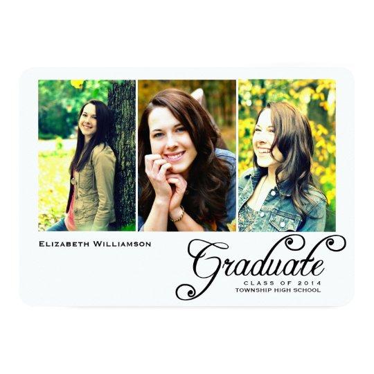 Lovely Three Photo Graduation Party Invitation